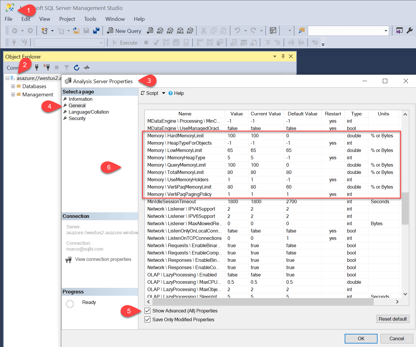 Optimizing memory settings in Analysis Services